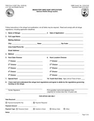 "FWS Form 3-2357 ""Migratory Bird Hunt Application"""