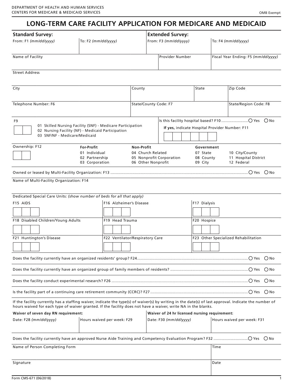 medicare form cms medicaid application term care facility pdf template fillable templateroller fill