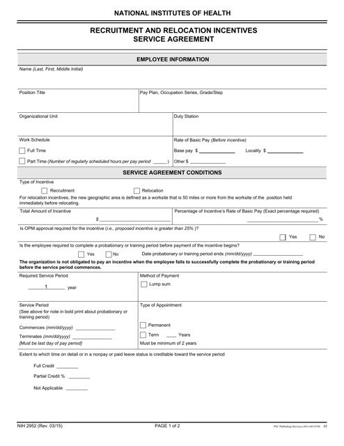 Form NIH-2952 Fillable Pdf