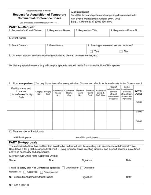 Form NIH827-1  Printable Pdf