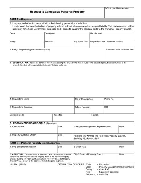 Form NIH-2741  Printable Pdf