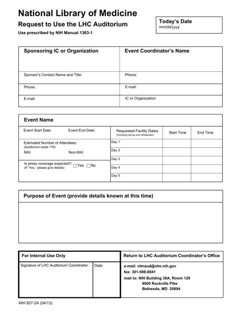 Form NIH-827-2A  Printable Pdf