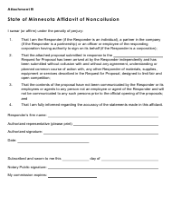 """Affidavit of Noncollusion"" - Minnesota"
