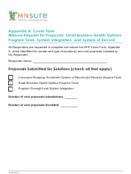 Appendix a - Cover Form Mnsure Request for Proposals: Small Business Health Options Program Tools, System Integration, and System of Record - Minnesota