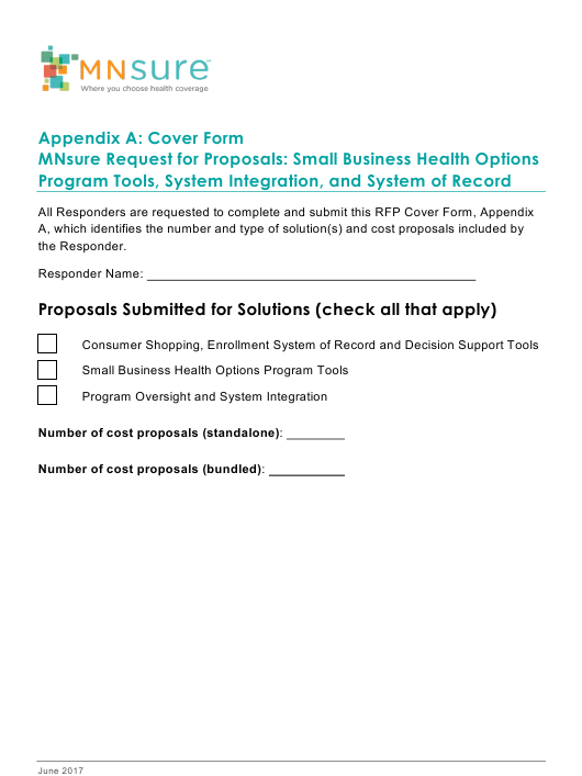Appendix A Download Fillable PDF or Fill Online Cover Form ...
