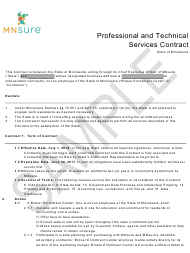 Professional and Technical Services Contract Form - Mnsure - Sample - Minnesota