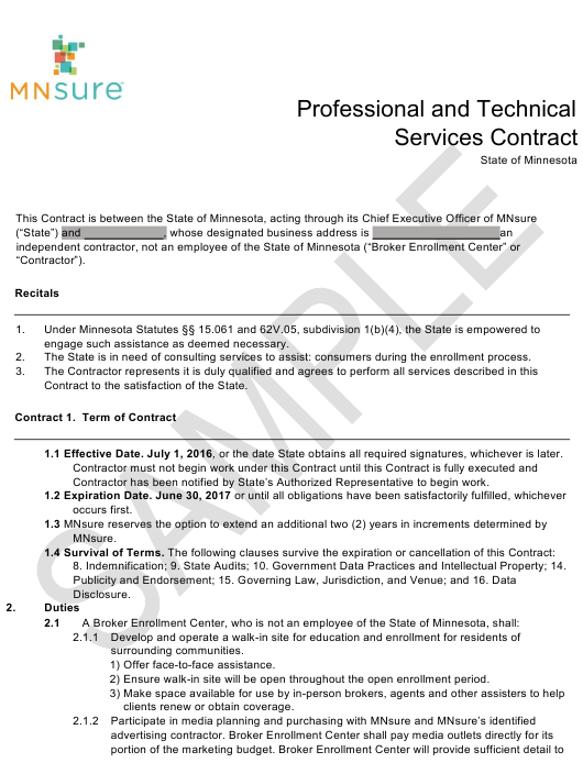"""""""Professional and Technical Services Contract Form - Mnsure - Sample"""" - Minnesota Download Pdf"""