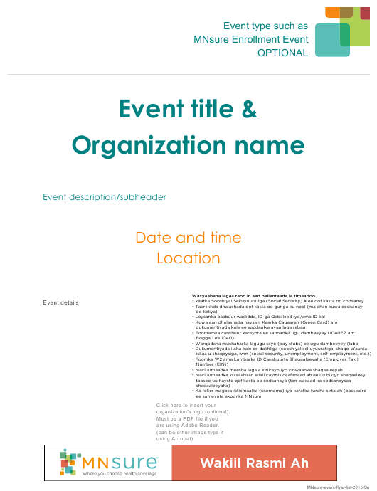 """""""Event Flyer With What to Bring List - Mnsure"""" - Minnesota (Somali) Download Pdf"""