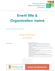 """Event Flyer With What to Bring List - Mnsure"" - Minnesota (Spanish)"