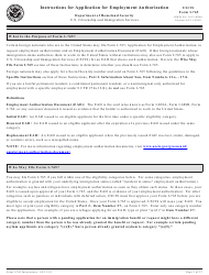 Instructions for USCIS Form I-765 - Application for Employment Authorization