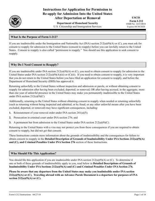USCIS Form I-212  Printable Pdf