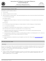 Instructions for USCIS Form I-360 - Petition for Amerasian, Widow(Er), or Special Immigrant