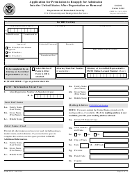 USCIS Form I-212 Application for Permission to Reapply for Admission Into the United States After Deportation or Removal