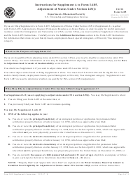 Instructions for USCIS Form I-485 Supplement a - Adjustment of Status Under Section 245(I)