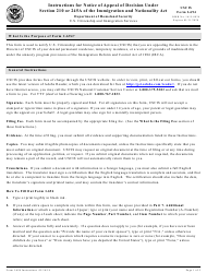 Instructions for USCIS Form I-694 - Notice of Appeal of Decision Under Section 210 or 245a of the Immigration and Nationality Act