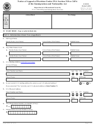 USCIS Form I-694 Notice of Appeal of Desicion Under Ina Section 210 or 245a of the Immigration and Nationality Act