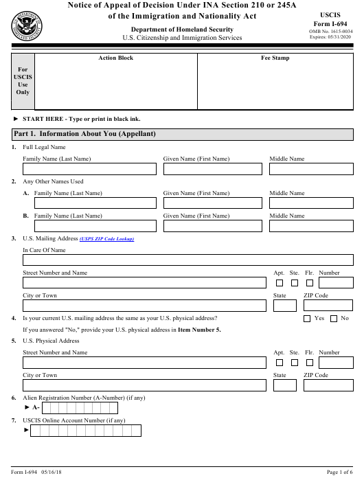 USCIS Form I-694 Download Fillable PDF, Notice of Appeal of
