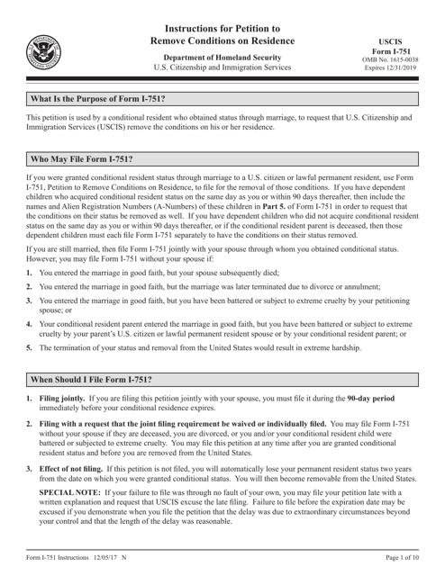USCIS Form I-751  Fillable Pdf