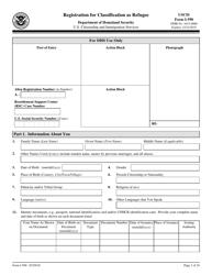 USCIS Form I-590 Registration for Classification as Refugee