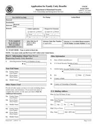 USCIS Form I-817 Application for Family Unity Benefits
