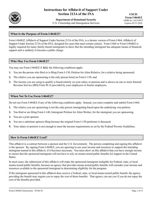 Instructions For Uscis Form I 864ez Affidavit Of Support Under
