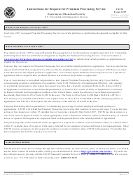 Instructions for USCIS Form I-907 - Request for Premium Processing Service