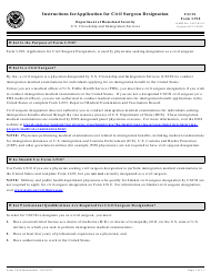Instructions for USCIS Form I-910 - Application for Civil Surgeon Designation