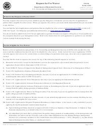 Intrusction for USCIS Form I-912 - Request for Fee Waiver