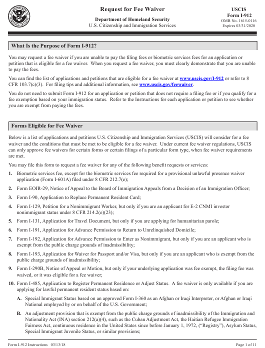 Intrusction For Uscis Form I 912 Request For Fee Waiver Download