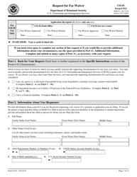 USCIS Form I-912 Request for Fee Waiver