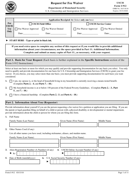 USCIS Form I-912 Download Fillable PDF, Request for Fee Waiver