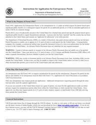 Instructions for USCIS Form I-941 - Application for Entrepreneur Parole