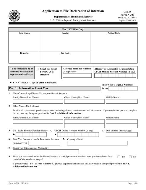 USCIS Form N-300 Printable Pdf