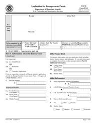 USCIS Form I-941 Application for Entepreneur Parole