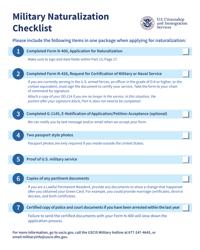 Military Naturalization Checklist