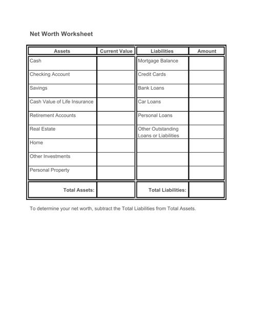 net worth worksheet template download printable pdf. Black Bedroom Furniture Sets. Home Design Ideas