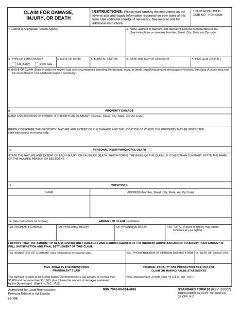 GSA Form SF-95 Printable Pdf