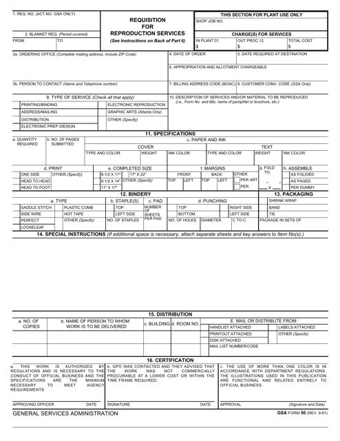 GSA Form 50  Printable Pdf