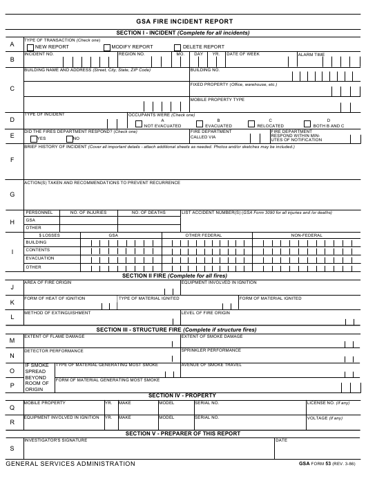 GSA Form 53 Printable Pdf