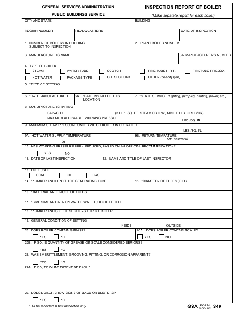 GSA Form 349 Download Fillable PDF, Inspection Report Of Boiler ...
