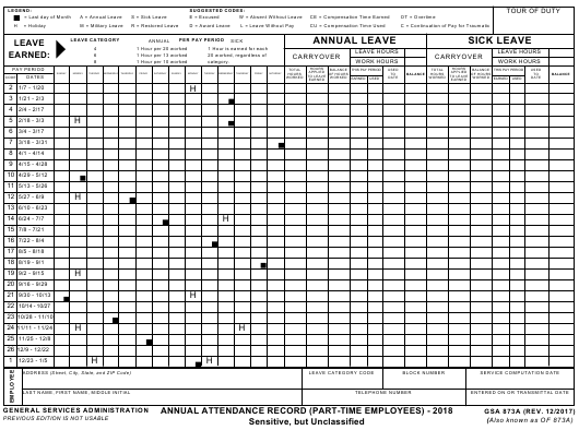 GSA Form 873A 2018 Fillable Pdf