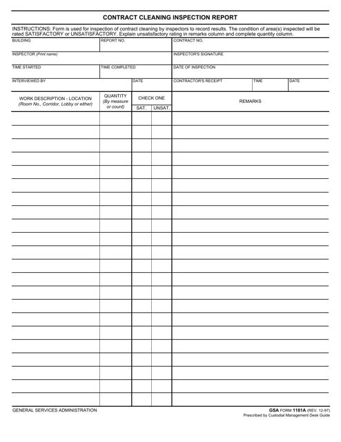 GSA Form 1181A  Printable Pdf