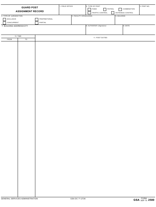 GSA Form 2580  Printable Pdf
