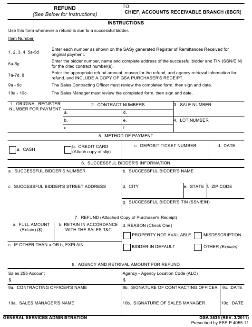 GSA Form 3635  Printable Pdf