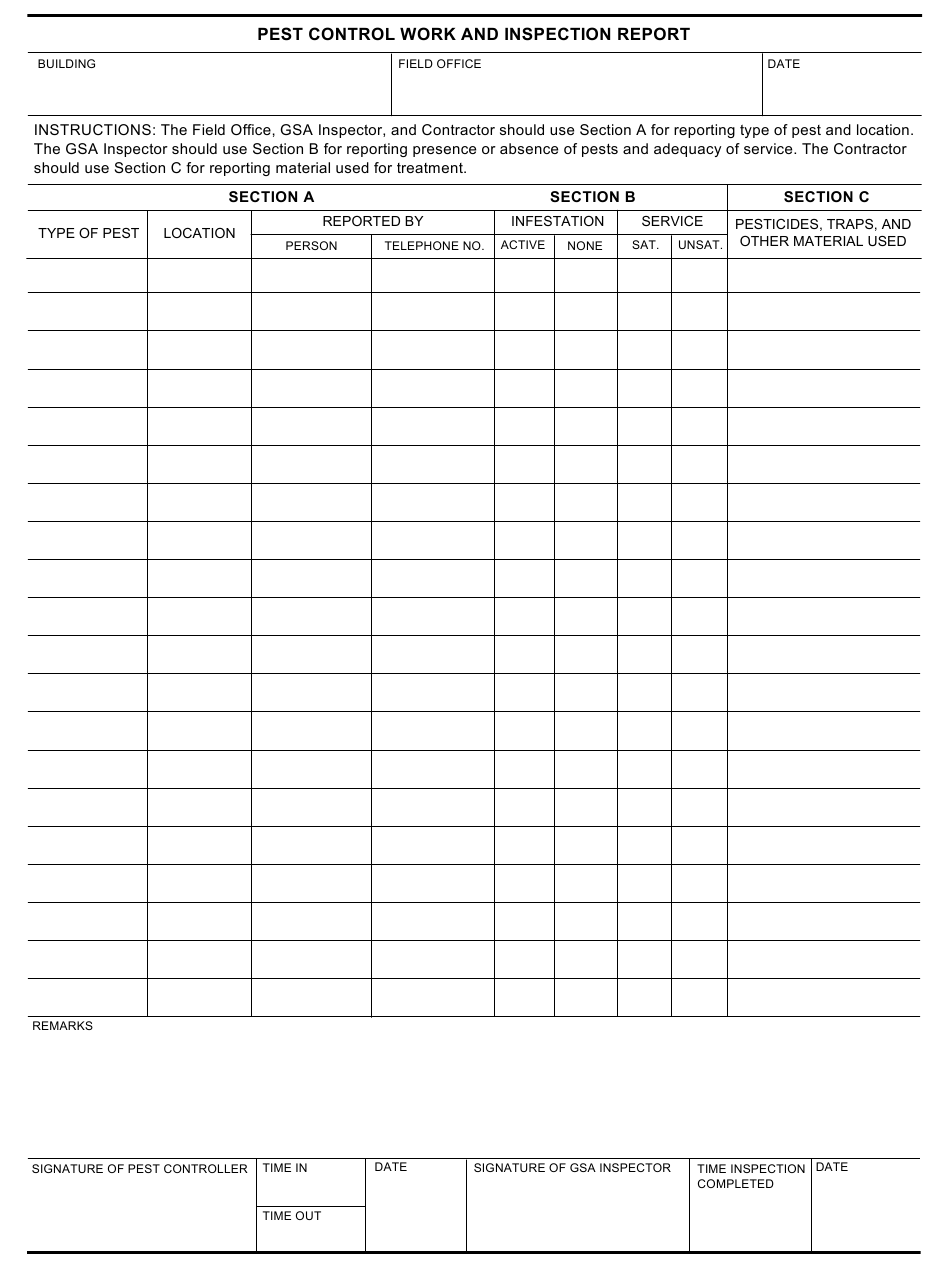 GSA Form 21 Download Fillable PDF or Fill Online Pest Control With Pest Control Inspection Report Template