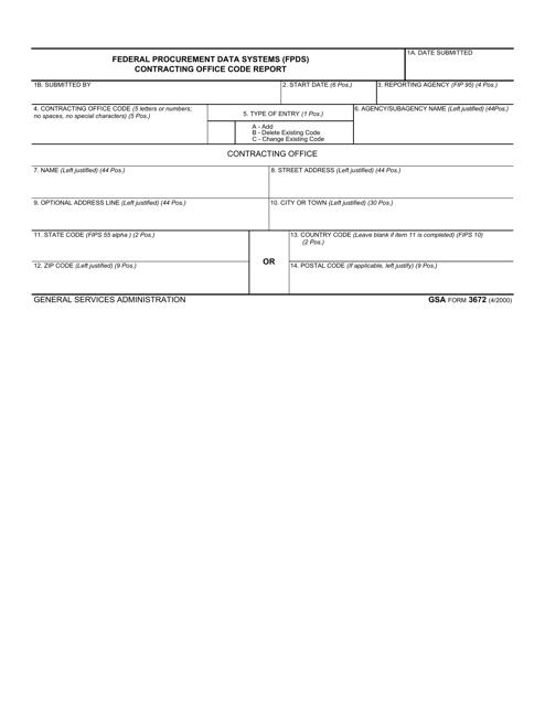 GSA Form 3672  Printable Pdf