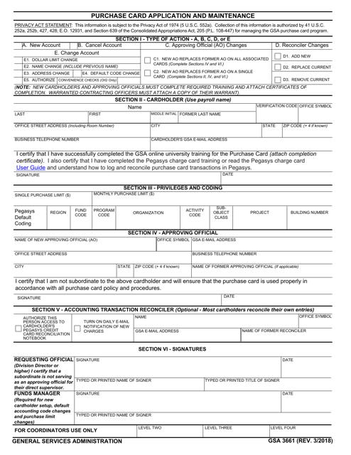 GSA Form 3661  Printable Pdf