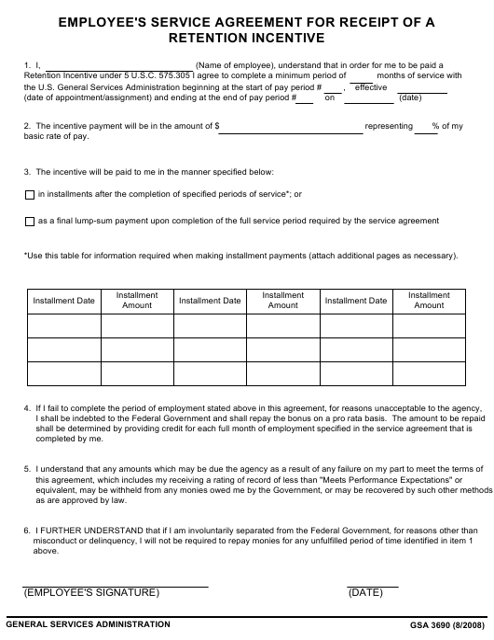GSA Form 3690  Printable Pdf