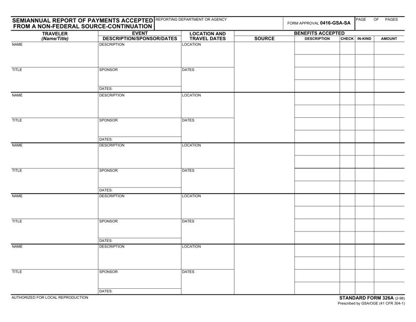 GSA Form SF326A Printable Pdf