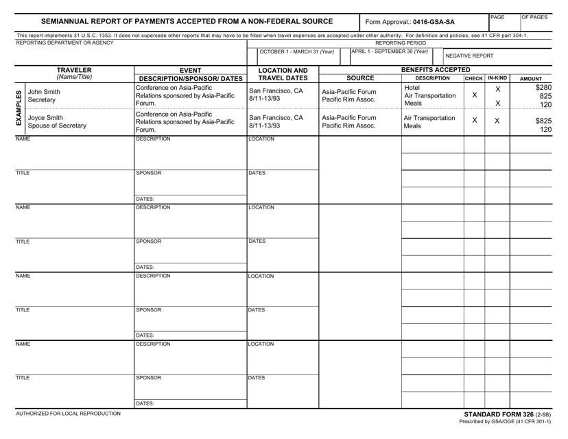 GSA Form SF-326 Fillable Pdf
